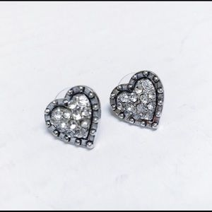 Betray Johnson rhinestone silver heart earrings